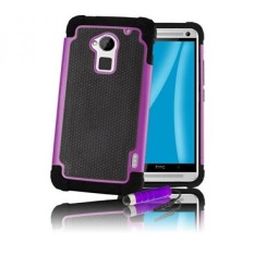 32ndShock Proof Heavy Duty Dual Defender Case Cover for HTC One Max (T6), Bundle Includes Cover, Film Screen Protector, Microfibre Cleaning Cloth and Touch Screen Stylus Pen - Purple - intl