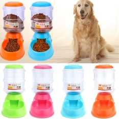 3.5L Besar Otomatis PET Makanan Dispenser Minuman Dog Cat Pengumpan Piring Mangkuk Air Hijau-Internasional