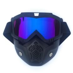 360 Wish Dagu dengan Salib Kayu Tipe Retro Gaya Masker Motor Kacamata Tahan Angin Pelindung Mata Kacamata Hitam Ski dengan Masker Pasir Hitam Frame + Lensa Berwarna