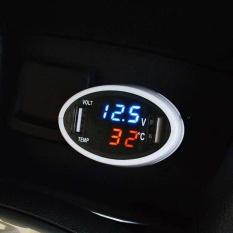 3in1 Led Mobil Pengukur Tegangan Volt Suhu Digital Indikator Usb Monitor Baterai Charger-Intl By Brisky.