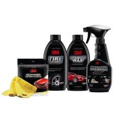 Spesifikasi 3M Paket Finishing Perawatan Mobil Lap Pembersih Interior Semir Ban Wax Mobil 4Pc Set Murah
