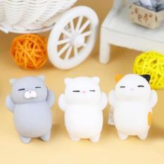 Review 3 Pcs Hot Japanese Mainan Mini Cat Mochi Squishy Squeeze Cat Kawaii Healing Toy Kumpulkan Fun Joke Gift Fokus