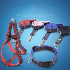 Beli 3Pcs Set Dog Harness Collar Pets Durable Denim Breast Strap Collar Traction Rope Black L Size Intl Cicilan