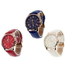 3 Pcs/set Geneva wanita Busana Roman Angka Faux Kulit Analog QUARTZ Jam Tangan Merah dan Putih dan Biru