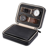 Spesifikasi 4 Grids Pu Leather Travel Watch Storage Case Zipper Wristwatch Box Organizer Intl Baru