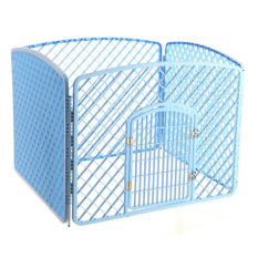 4 Interlocking Panel PET Pagar Playpen (Biru)-Intl