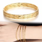 Harga 4 Pcs Set Gold Plated Bangle Jewelry Gelang Bangles Fashion Berlapis Emas Multilayer Gelang Untuk Wanita Gelang Intl Paling Murah