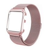 Ongkos Kirim 42Mm For Apple Watch Band Stainless Steel Mesh Magnetic Replacement Bracelet Strap Wrist Bands With Metal Protective Case For Apple Watch Series 2 Series 1 Rose Pink Intl Di Tiongkok