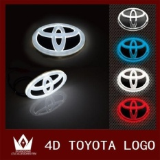 4D LED Mobil Decal Tail Logo Lencana Lampu Emblem Stiker Fortoyota (putih) Corolla, Crown, Yaris, Old Vios-Intl