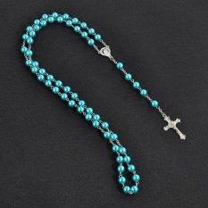 4 Ever Rosario Manik-manik Perawan Maria Yesus Cross Pendant Kalung Pakaian Rantai Kalung Hadiah 6 Warna-Biru-Intl