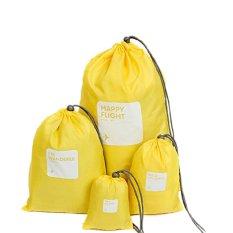 Kualitas 4 In 1 Perjalanan Penyelenggara Pengepakan Penyimpanan Bagasi Tas Serut Kantong Tahan Air Kuning Not Specified