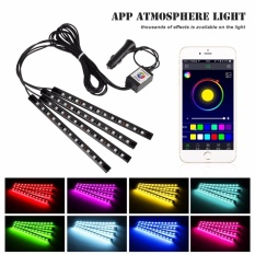 4 Pcs Bluetooth 3 D Kontrol Telepon Mobil Interior RGB Strip Light FlexibleAtmosphere Lampu Kit Kaki Lampu Dekoratif Android IOS Control MCC270 -Intl