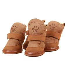 4 Pcs/set Anti-bahan Kimia Katun Sepatu Tahan Air Hangat Musim Dingin Sepatu Anjing-Kopi L-Intl