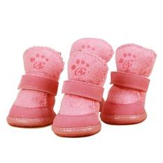 4 Pcs/set Anti-bahan Kimia Katun Sepatu Tahan Air Hangat Musim Dingin Sepatu Anjing-Berwarna Merah Muda S-Internasional