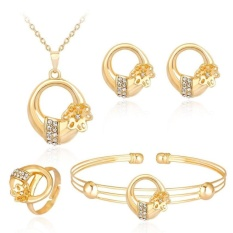4 Pcs/set Rhinestone Emas Plating Kalung Anting Gelang Cincin Perhiasan-Intl