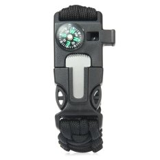 Beli 5 In 1 Outdoor Survival Gear Escape Paracord Bracelet Flint Whistle Compass Scraper Black Intl Murah