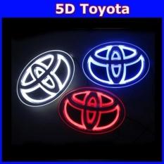 5D LED Mobil Decal Tail Logo Lencana Lampu Emblem Sticker ForTOYOTA (biru) Corolla, New Crown, New Vios, Wish, 2012 Camry- INTL