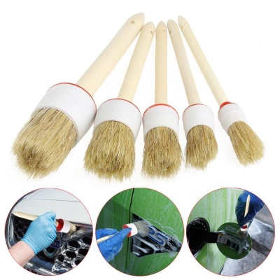 Spek 5Pcs Soft Car Detailing Brushes For Cleaning Dash Trim Seats Wheels Wood Handle Intl