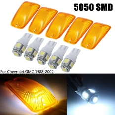 5 Pcs T10 5050 Dome Indeks Mobil Lampu LED Wedge White Light Atap Marker Amber Cover Lensa untuk Chevrolet /GMC-Intl