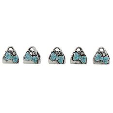 5 Pcs Vintage Wanita Hangbag Desain Charms Pendant Perhiasan Membuat Danau Biru-Intl