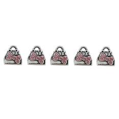 5 Pcs Vintage Wanita Hangbag Desain Charms Pendant Perhiasan Membuat Pink-Intl
