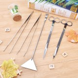 Katalog 5Pcs Set Straight Curved Tweezer Scissor Algae Scraper Stainless Steel Aquarium Plant Tools Silver Intl Terbaru