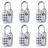 Review Tentang 6 Pcs Baru Tiba 3 Dial Tsa Disetujui Kunci Keamanan Untuk Koper Perjalanan Koper Bag Silver