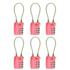 Harga Termurah 6 Pcs Tsa 3 Digit Resettable Kombinasi Kunci Gembok Koper Bagasi Perjalanan Warna Pink