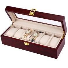 6 Slot Tampilan Arloji Kayu Pelindung Jam Tangan Atas Kaca Kotak Perhiasan Penyimpanan Organizer-Intl