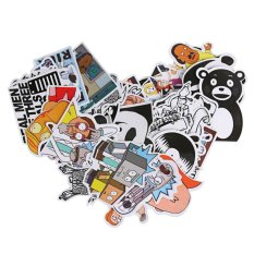 Jual 60Pcs Color Black And White Creative Cartoon Suitcase Car Sticker Doodle Blue One Size Intl Online Tiongkok