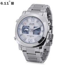 6.11 2418 Dual Movt Male Sports Watch Day Display Backlight Stopwatch Alarm 3ATM Wristwatch - intl