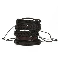 Harga 6 Pcs Chic Korea Kulit Menenun Gelang Kasual Dikepang Perhiasan Yang Murah