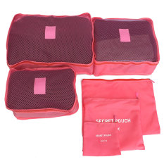 Review 6Pcs Clothes Underwear Socks Packing Travel Luggage Organizer Pink Terbaru