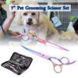 Jual 7 Professional Pet Dog Cat Grooming Scissor Cut Curved Thinning Shear Set Xcsource Ori