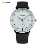 Cuci Gudang 9083 Skmei New Fashion England Style Waterproof Business Watches Men Genuine Leather Wristwatch Simple Watch White Intl
