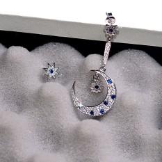 925 Silver Earrings Adalah Bulan dan Bintang-bintang Di Micro Fine Bor dengan Asimetris Non Pierce Ear Clip Anting 0014 Bintang U-Intl