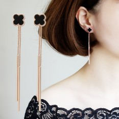 925 Anting Perak Harajuku Wanita Panjang Tassel Clover Ear Wire Earrings Earrings Sederhana Angin Kepribadian Di Hong Kong-Intl