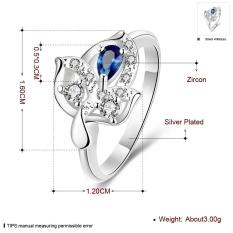 Harga 925 Perak Untuk Wanita Cincin Berlapis Nikel Gratis Pola Daun 7 Biru Asli Not Specified