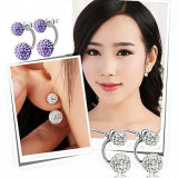 925 Sterling Diamond Silver Kristal Anting Tiongkok Diskon