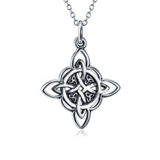 925 Sterling Silver Celtic Triquetra Trinity Knot Good Luck Pendant Rolo Chain Necklace, 18
