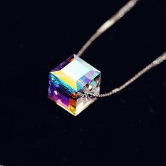 Spesifikasi 925 Sterling Silver Crystal Cube Kalung Empat Daun Semanggi Bunga Necklaces Pendants For Women Collares 2015 Colar Perhiasan Intl Baru