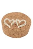 Jual 925 Sterling Perak Crystal Rhinestone Heart Ear Stud Earrings Online