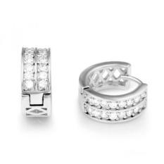 925 Sterling Silver Cubic Zirconia CZ Channel-Set Hoop Huggie Earrings - intl