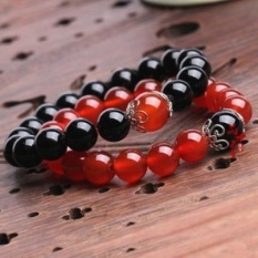 925 sterling silver natural red and black agate bracelet braceletsmen and women couple models jewelry gift Benming shipped toflourish - Black Onyx 10MM - intl