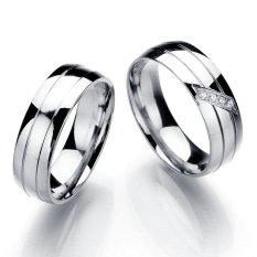 925 Sterling Silver Ring Klasik Desain Stainless Titanium Pernikahan Cincin Pertunangan Women Pria Beberapa Pecinta Cincin-Silver-Intl