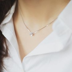 Harga 925 Sterling Silver Single Diamond Kalung Korea Selatan Indah Imported Diamond Rantai Kalung Intl Murah