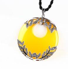 925 Sterling Perak Thailand Asli Kuning Chalcedony Round Pendant Vintage Solid Silver Fashion Perhiasan-Intl