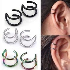 Sepasang Anting Clip-on Non-piercing Ear Cartilage Klip Cuff Eardrop Steel Ear Clip-Intl