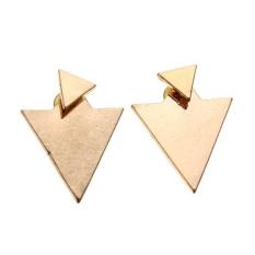 Sepasang Women's Asymmetrical Segitiga Geometris Anting-Anting Emas-Intl