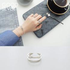 Adalah Baik Sederhana Perak 925 Murni Perak Lapisan Ganda Permukaan Halus Cincin